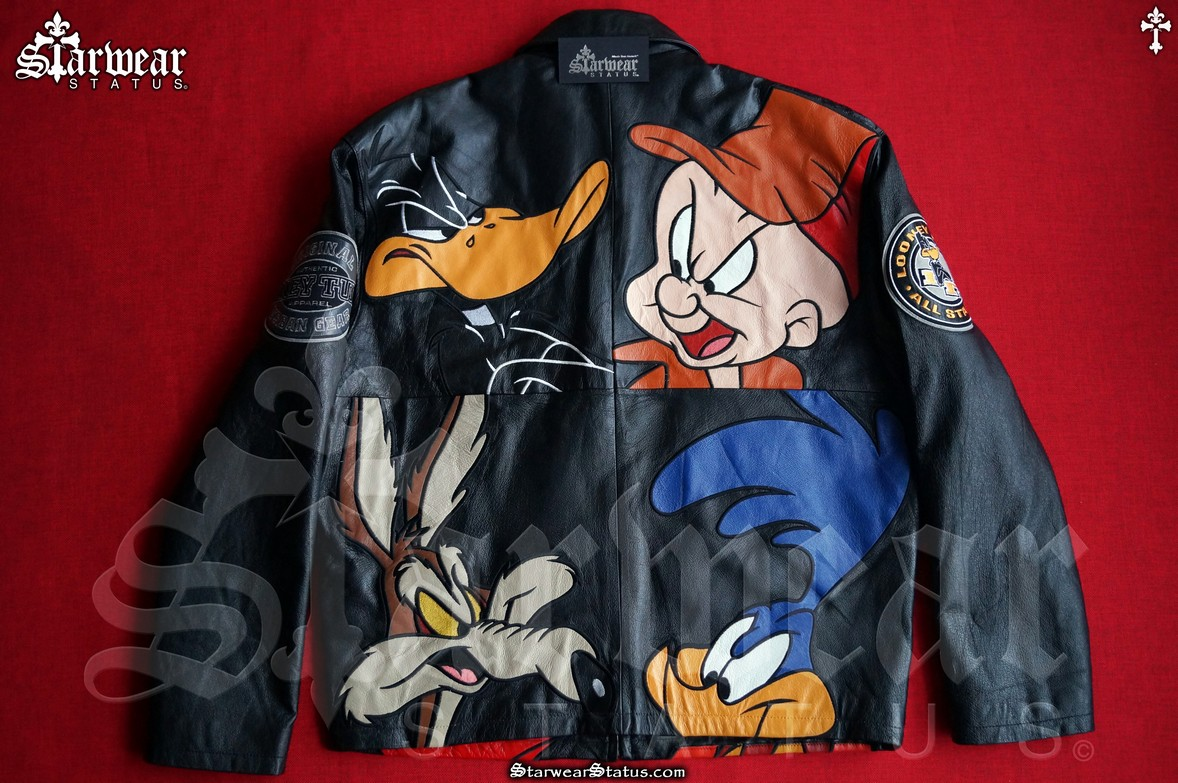 ca693a903e4d9 Vintage 90s Looney Tunes Leather Space Jam Cartoon Motorcycle Jacket M/L  (Rare Collectible Piece!)