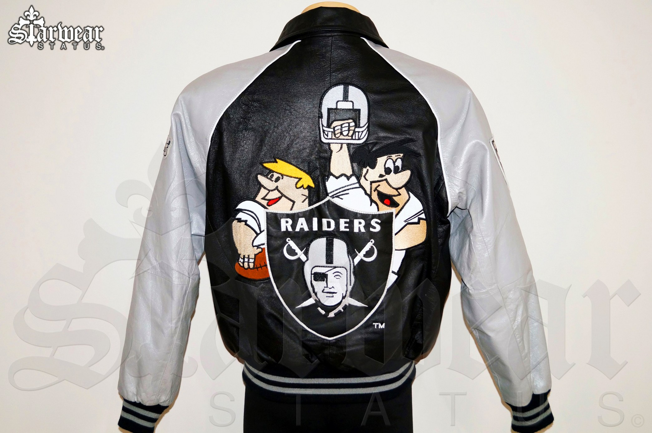 the latest 095fc 229e0 90s Flintstones LA Raiders Leather Bomber Varsity NFL Football College  Jacket Size Men's M/L (Vintage Original!)