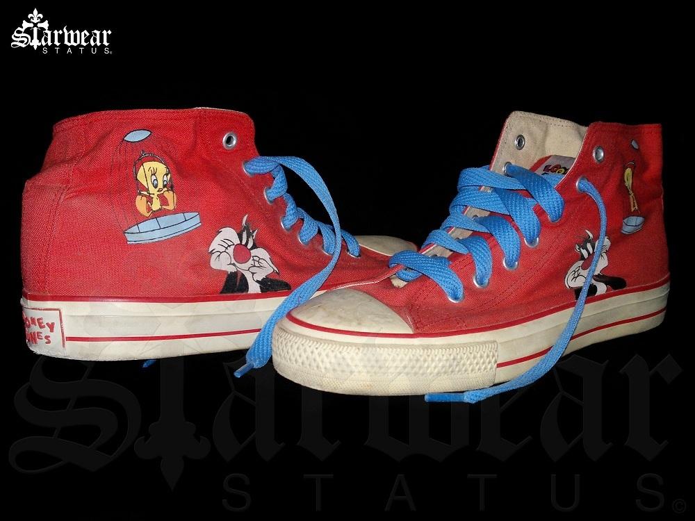 20e15e6259cad9 Looney Tunes Warner Bros Red Tweety Sylvester High Top Chuck Taylor ...