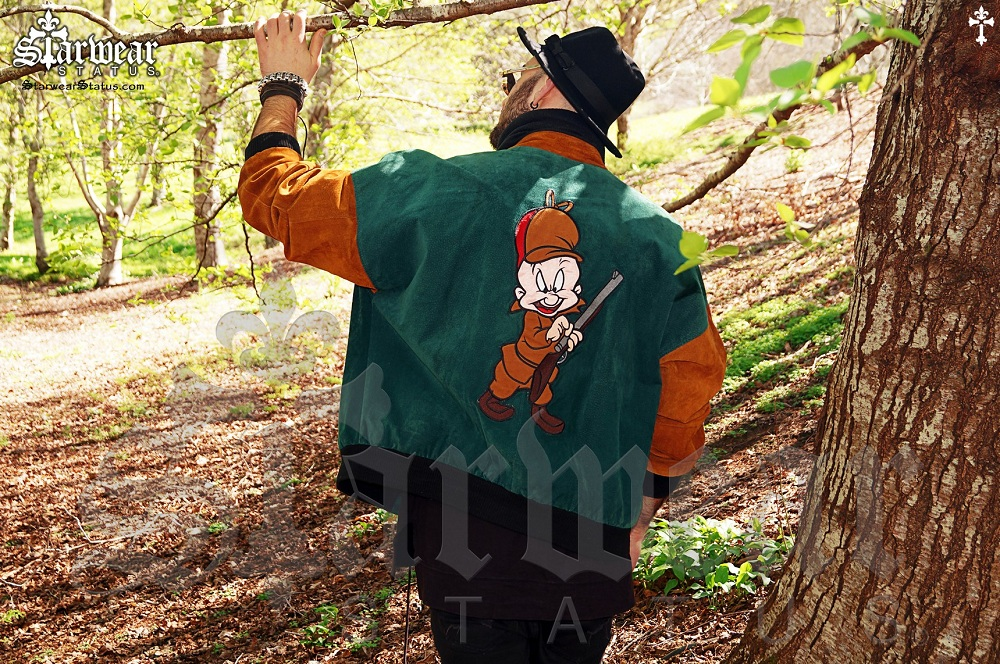 af0d324cf15a 1993  Looney Tunes  Bugs Bunny x Elmer Fudd Suede Leather Bomber ...