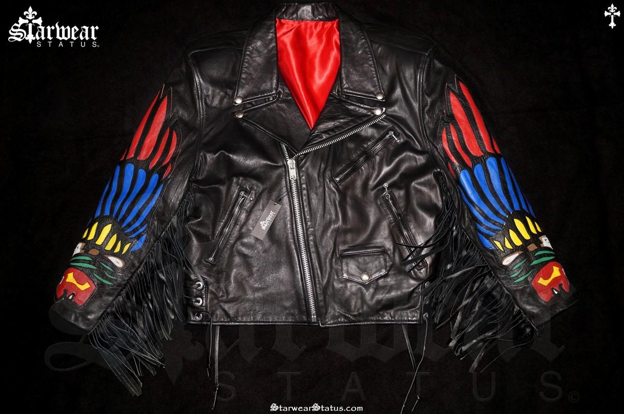 Native American Dallas Leather Motorcycle Indian Red Fringe Biker Jacket Men S Size S M Original Vintage Very Rare Starwear Status