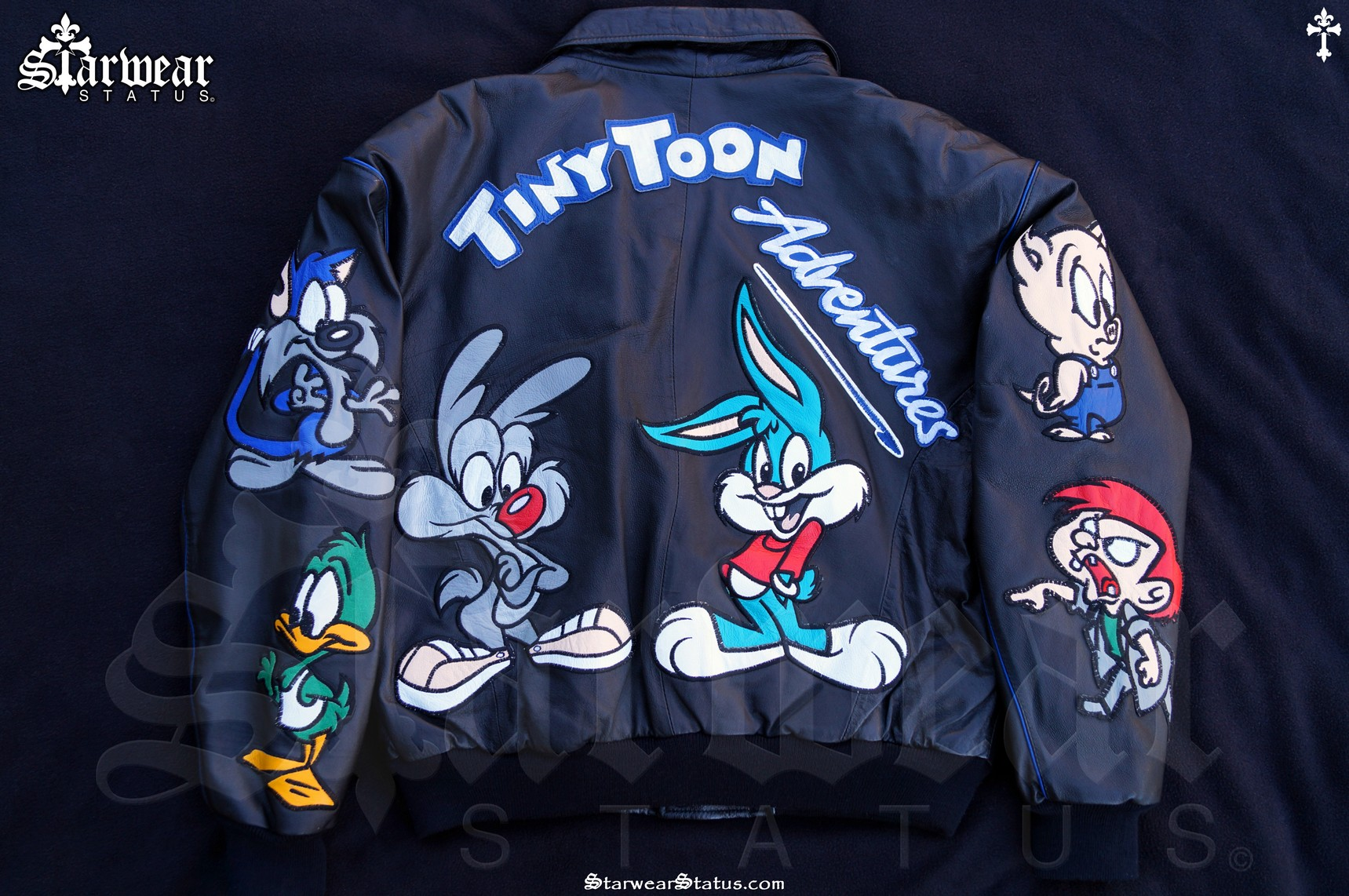 c34e8715c TINY TOONS Cartoon Leather Vintage Looney Tunes Jeff Hamilton Style Jacket  Men's M-L (Very Rare 1990's)