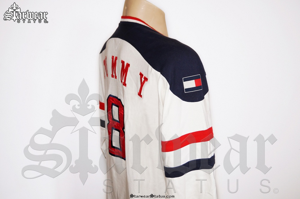 c6c7fa74080 Tommy Hilfiger 90 s Spell Out Royal Crest Hockey Jersey Long Sleeve ...