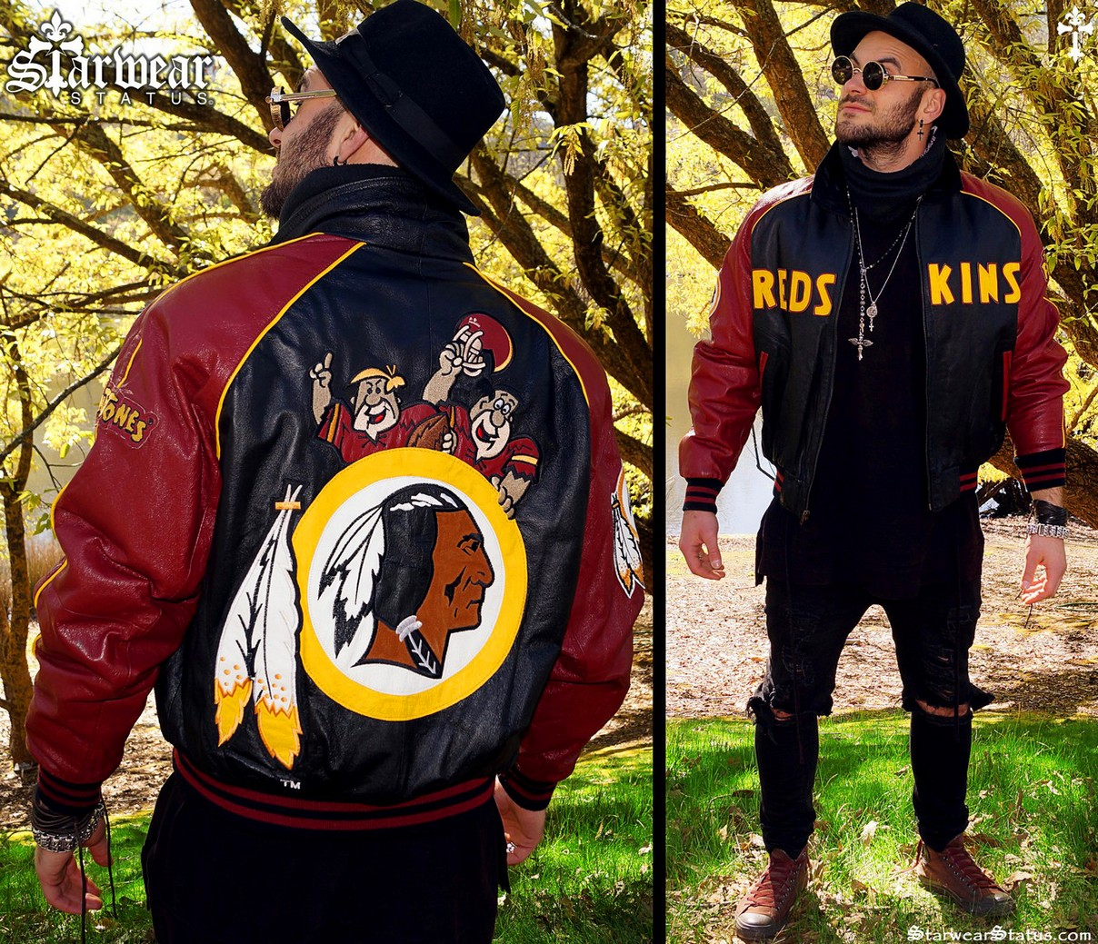 buy online ed692 3a4b3 90s Vintage The Flintstones Cartoon Redskins NFL Football Leather Bomber  Jacket Men's Size - Medium/Large (RARE By Montana Toons!)