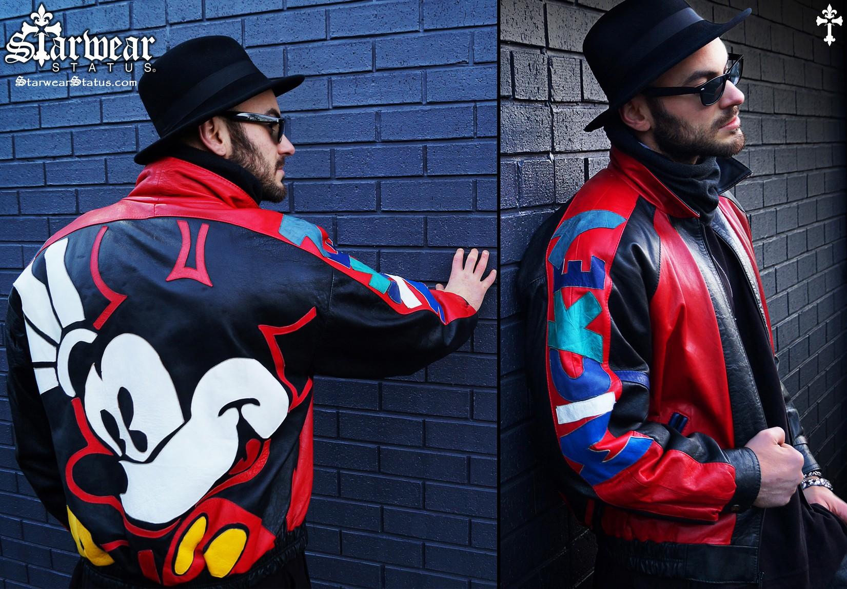 e3dc1a91601 90's Vintage Disney Mickey Mouse Leather Bomber Jacket Size Medium/Large  (Chris Brown Worn Wardrobe Piece!)