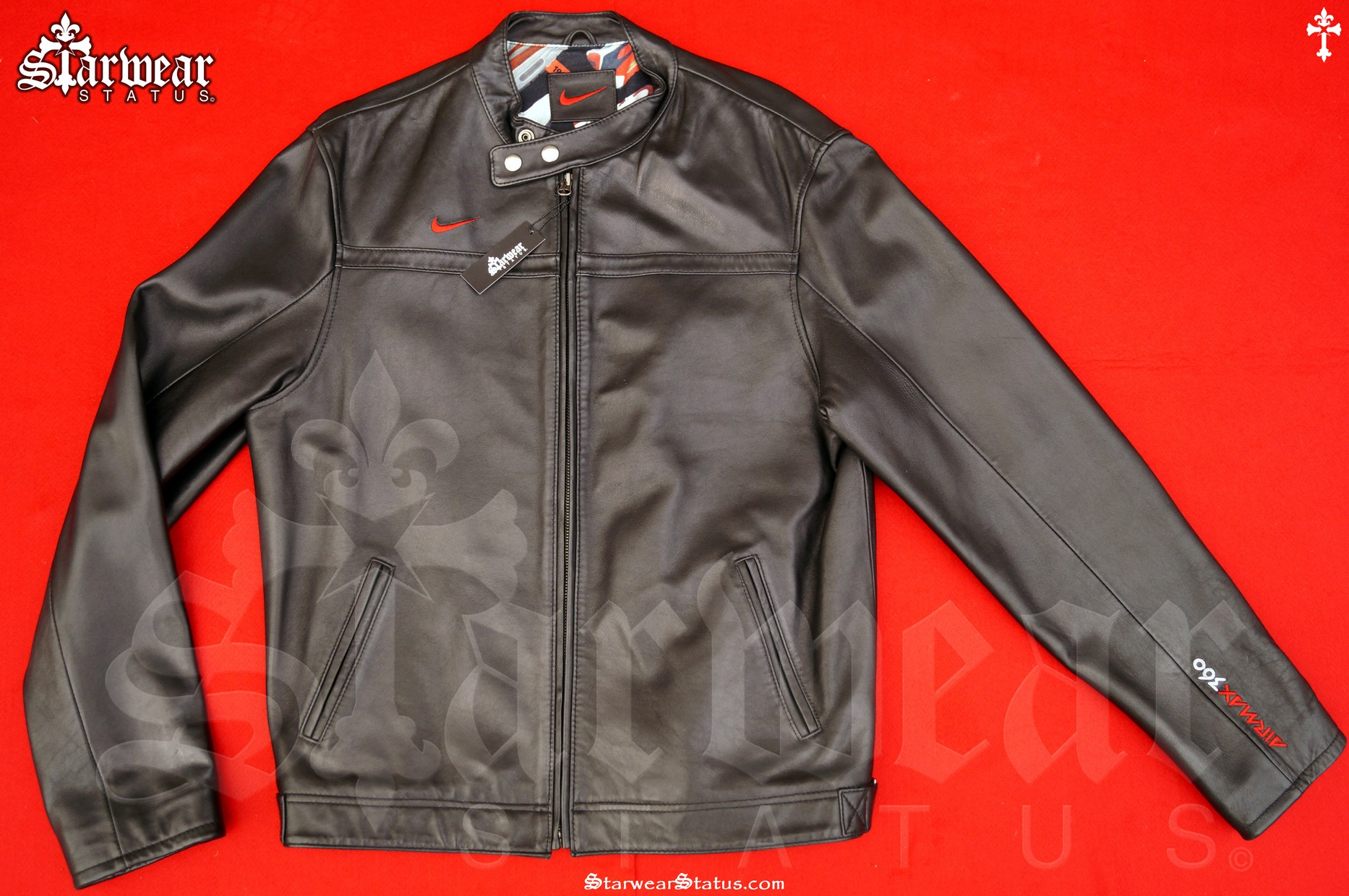 6d7f505a8 90s Vintage NIKE AIR MAX 360 Leather Moto Biker Black Sports Jacket Men's  Medium/Large *VERY RARE!* (Sneaker Design Interior!)