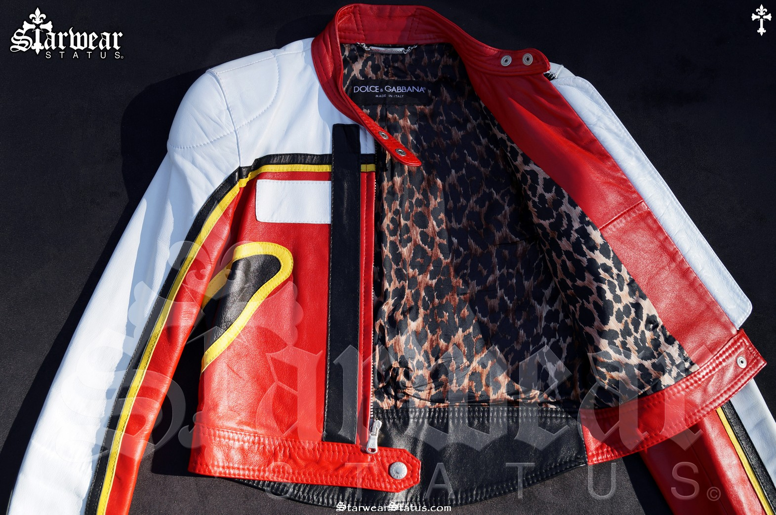 cc1a3c1df Dolce & Gabbana D&G Leather Leopard Print Cafe Racer Motorcycle Biker  Jacket Women's Size 6 XS. (VERY RARE PIECE FROM 2001!)