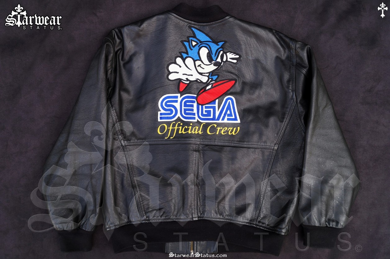Vintage 90s Sega Sonic The Hedgehog Uk Game Crew Leather Varsity Jacket Mens M L Extremely Rare Collectible Starwear Status